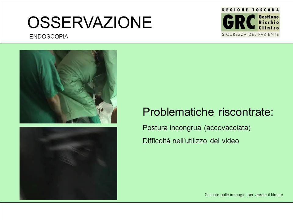 OSSERVAZIONE Problematiche riscontrate: Postura incongrua (accovacciata) Difficoltà nellutilizzo del video ENDOSCOPIA Cliccare sulle immagini per vedere il filmato