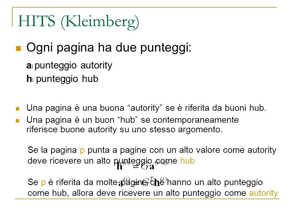 HITS (Kleimberg) Ogni pagina ha due punteggi: a i punteggio autority h i punteggio hub Una pagina è una buona autority se è riferita da buoni hub. Una