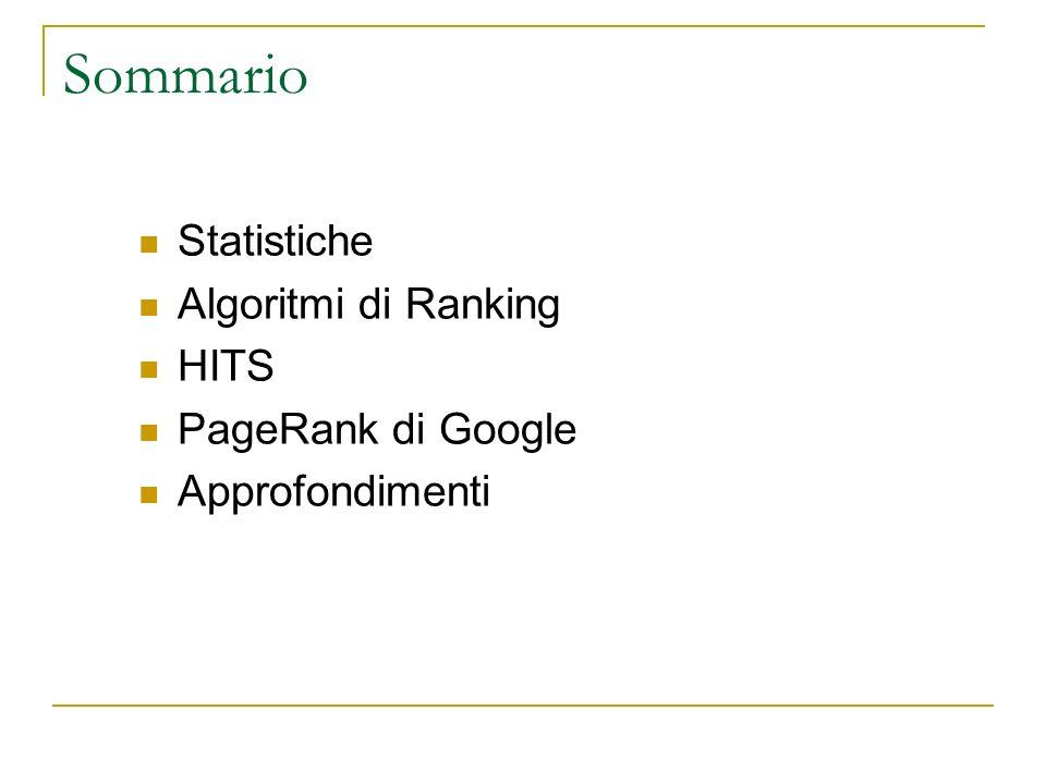 Sommario Statistiche Algoritmi di Ranking HITS PageRank di Google Approfondimenti