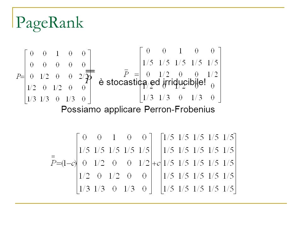 PageRank è stocastica ed irriducibile! Possiamo applicare Perron-Frobenius