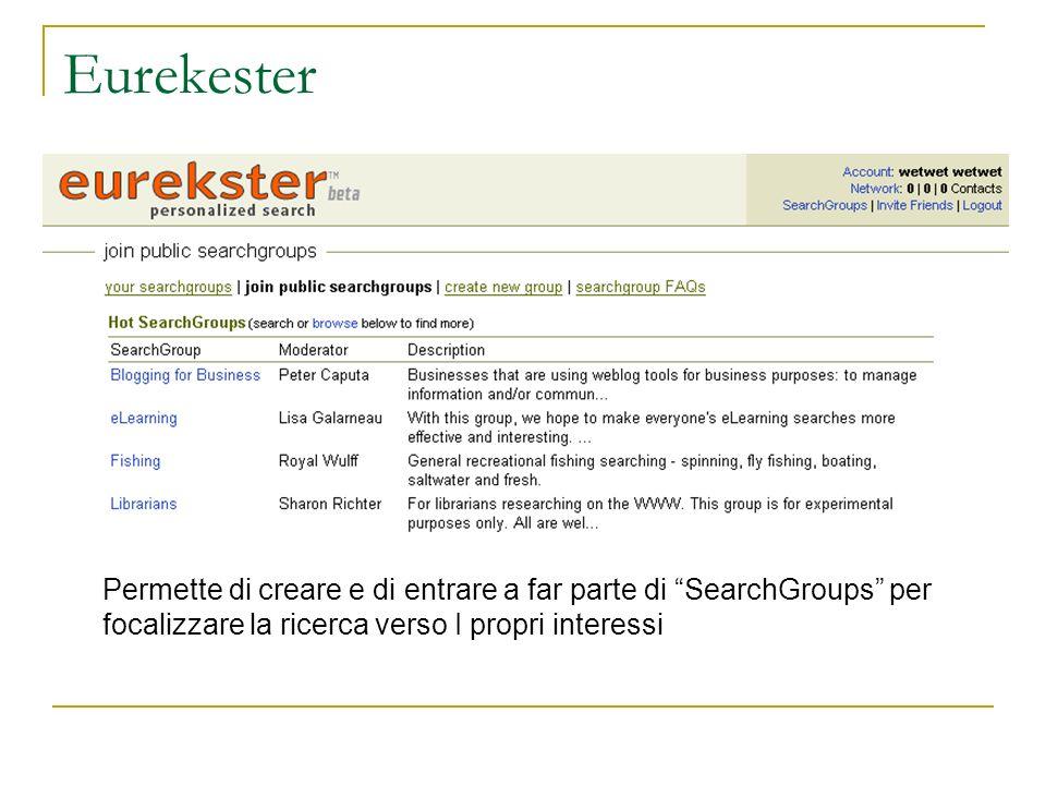 Eurekester Permette di creare e di entrare a far parte di SearchGroups per focalizzare la ricerca verso I propri interessi