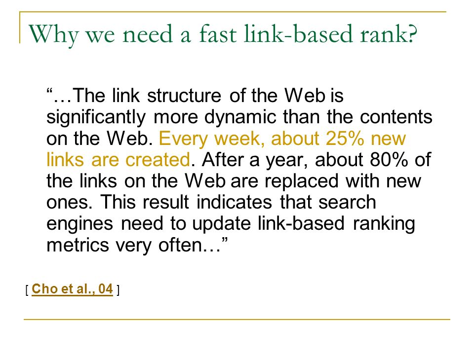 Why we need a fast link-based rank.