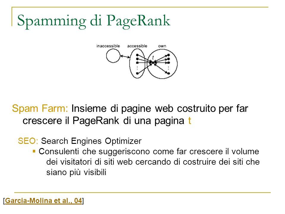 Spam Farm: Insieme di pagine web costruito per far crescere il PageRank di una pagina t Spamming di PageRank [Garcia-Molina et al., 04]Garcia-Molina e
