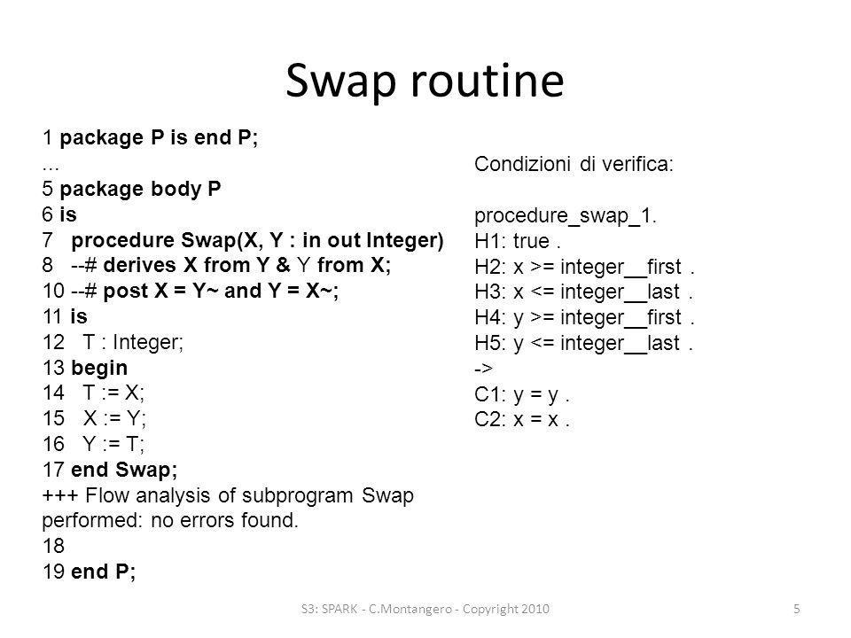 Swap routine difettosa S3: SPARK - C.Montangero - Copyright 20106 1 package P is end P;...