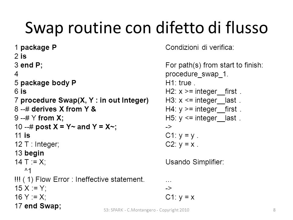 Swap routine con difetto di flusso S3: SPARK - C.Montangero - Copyright 20108 1 package P 2 is 3 end P; 4 5 package body P 6 is 7 procedure Swap(X, Y : in out Integer) 8 --# derives X from Y & 9 --# Y from X; 10 --# post X = Y~ and Y = X~; 11 is 12 T : Integer; 13 begin 14 T := X; ^1 !!.