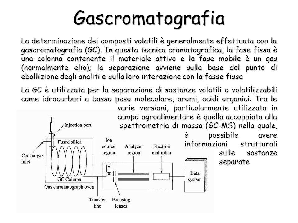 Gascromatografia La determinazione dei composti volatili è generalmente effettuata con la gascromatografia (GC).