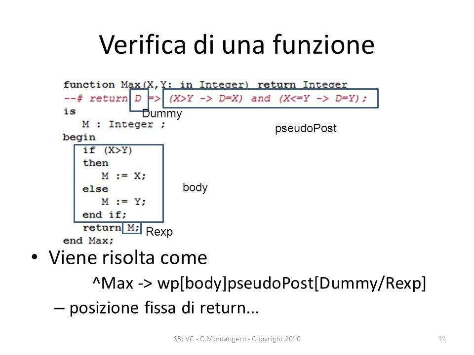 Verifica di una funzione Viene risolta come ^Max -> wp[body]pseudoPost[Dummy/Rexp] – posizione fissa di return...