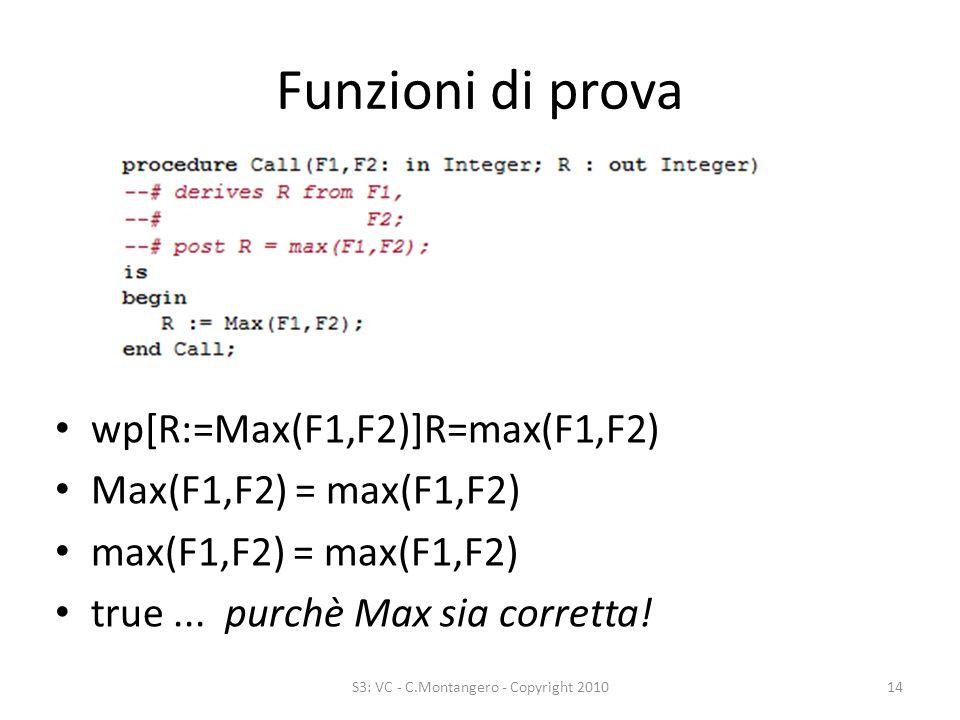 Funzioni di prova wp[R:=Max(F1,F2)]R=max(F1,F2) Max(F1,F2) = max(F1,F2) max(F1,F2) = max(F1,F2) true...