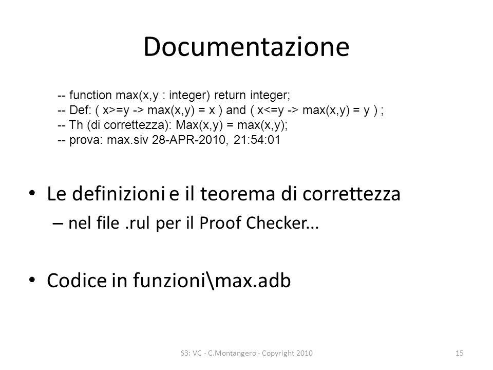Documentazione Le definizioni e il teorema di correttezza – nel file.rul per il Proof Checker...