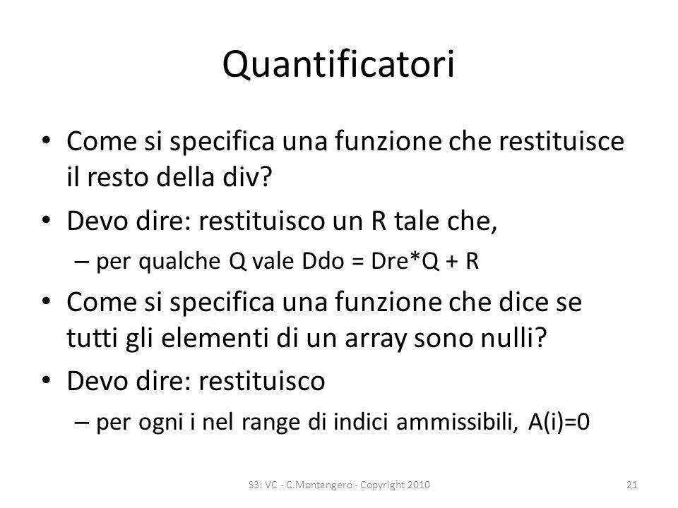 Quantificatori Come si specifica una funzione che restituisce il resto della div.