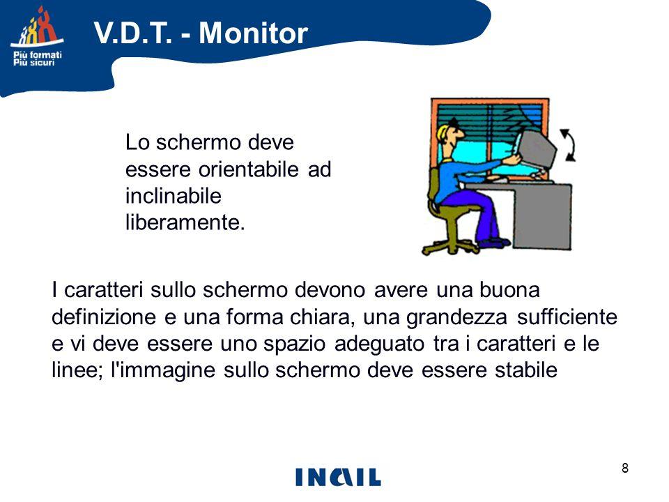 9 Luminosità e contrasto tra i caratteri devono poter essere facilmente regolabili da parte dell utilizzatore del VDT REGOLAZIONE V.D.T.