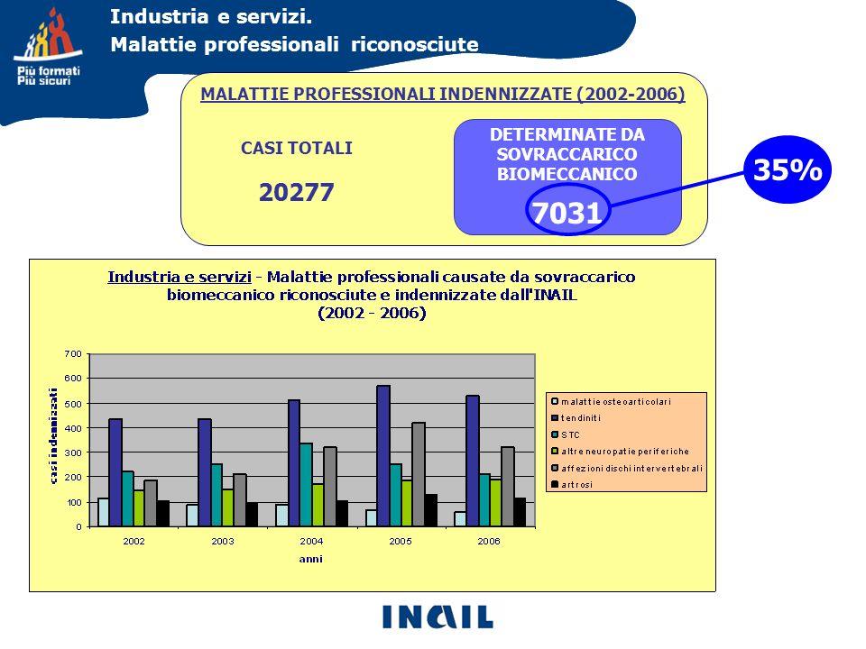Industria e servizi. Malattie professionali riconosciute MALATTIE PROFESSIONALI INDENNIZZATE (2002-2006) CASI TOTALI 20277 DETERMINATE DA SOVRACCARICO