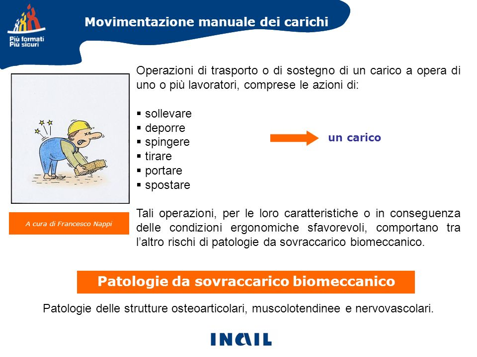 Movimentazione manuale dei carichi A cura di Francesco Nappi Patologie delle strutture osteoarticolari, muscolotendinee e nervovascolari. Operazioni d