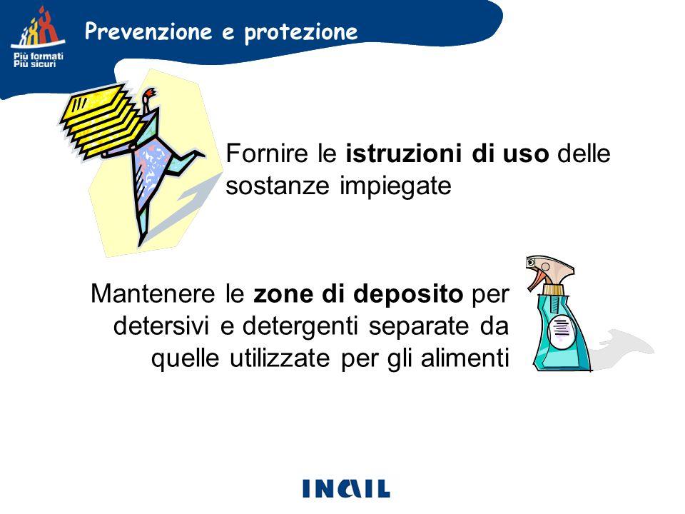 Fornire le istruzioni di uso delle sostanze impiegate Mantenere le zone di deposito per detersivi e detergenti separate da quelle utilizzate per gli alimenti Prevenzione e protezione