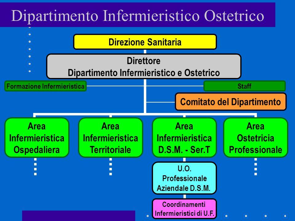 Dipartimento Infermieristico Ostetrico Direzione Sanitaria Comitato del Dipartimento Area Infermieristica Ospedaliera Staff Direttore Dipartimento Infermieristico e Ostetrico Formazione Infermieristica Area Infermieristica Territoriale Area Infermieristica D.S.M.