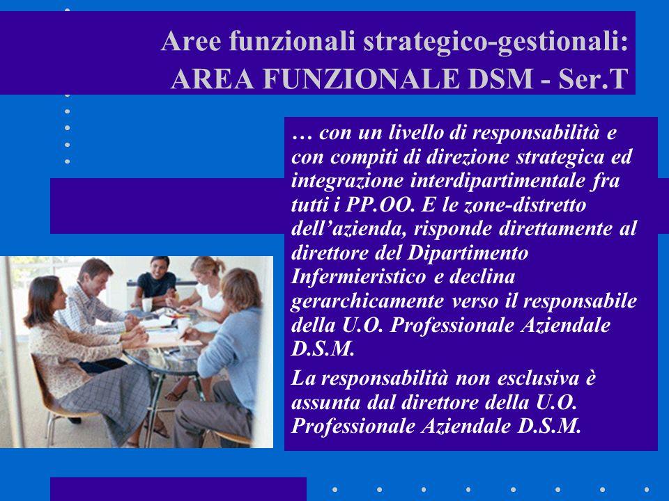 Aree funzionali strategico-gestionali: AREA FUNZIONALE DSM - Ser.T … con un livello di responsabilità e con compiti di direzione strategica ed integrazione interdipartimentale fra tutti i PP.OO.