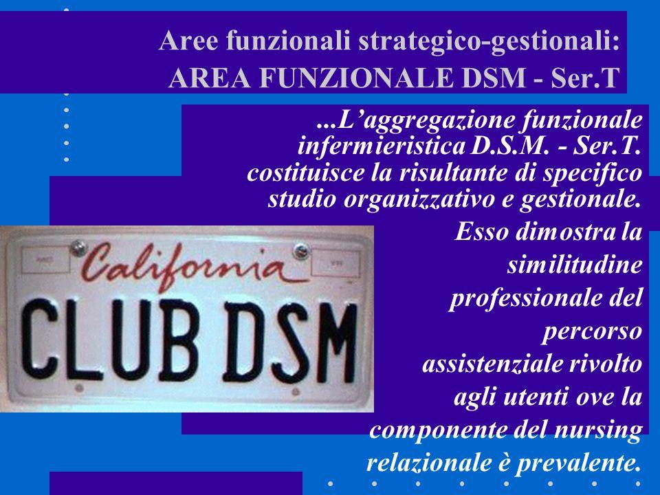 Aree funzionali strategico-gestionali: AREA FUNZIONALE DSM - Ser.T...Laggregazione funzionale infermieristica D.S.M.