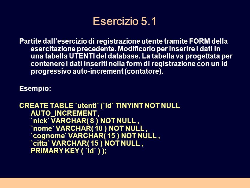 Esercizio 5.1 Partite dallesercizio di registrazione utente tramite FORM della esercitazione precedente. Modificarlo per inserire i dati in una tabell