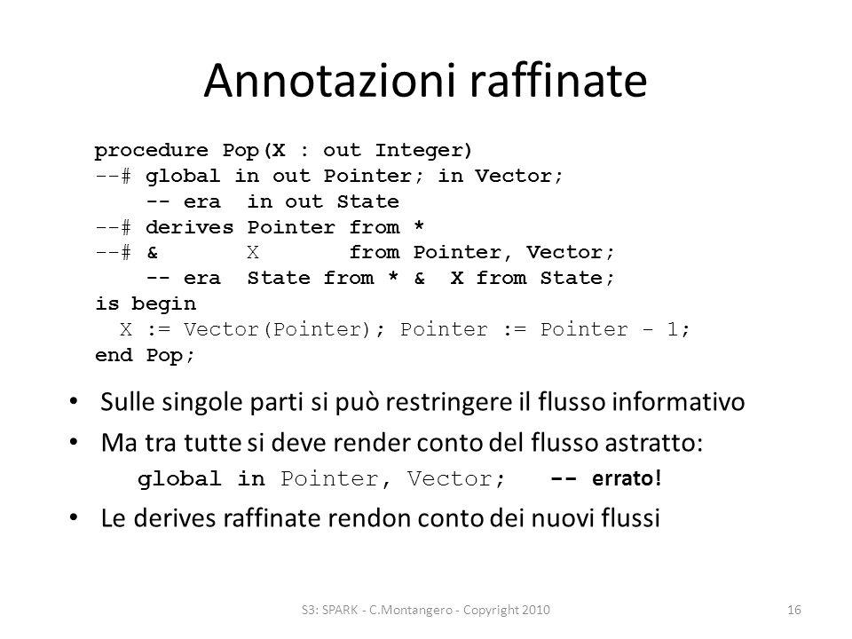 Annotazioni raffinate Sulle singole parti si può restringere il flusso informativo Ma tra tutte si deve render conto del flusso astratto: global in Pointer, Vector; -- errato.