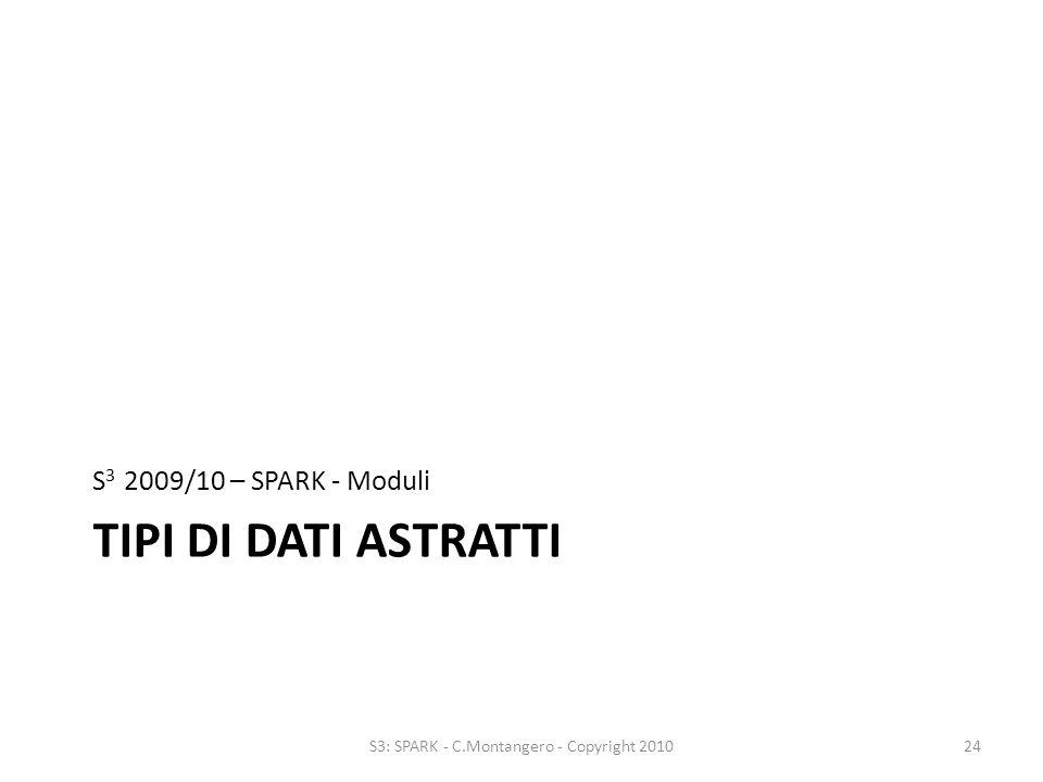 TIPI DI DATI ASTRATTI S 3 2009/10 – SPARK - Moduli 24S3: SPARK - C.Montangero - Copyright 2010
