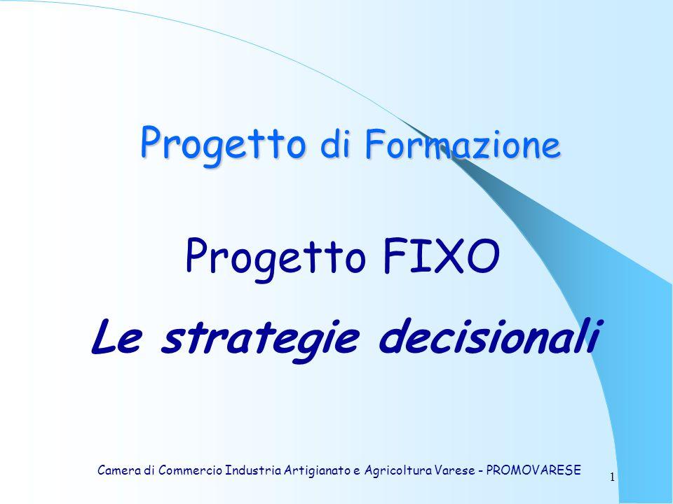 1 Progetto FIXO Le strategie decisionali Camera di Commercio Industria Artigianato e Agricoltura Varese - PROMOVARESE Progetto di Formazione