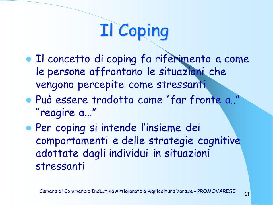 11 Il Coping Il concetto di coping fa riferimento a come le persone affrontano le situazioni che vengono percepite come stressanti Può essere tradotto come far fronte a..