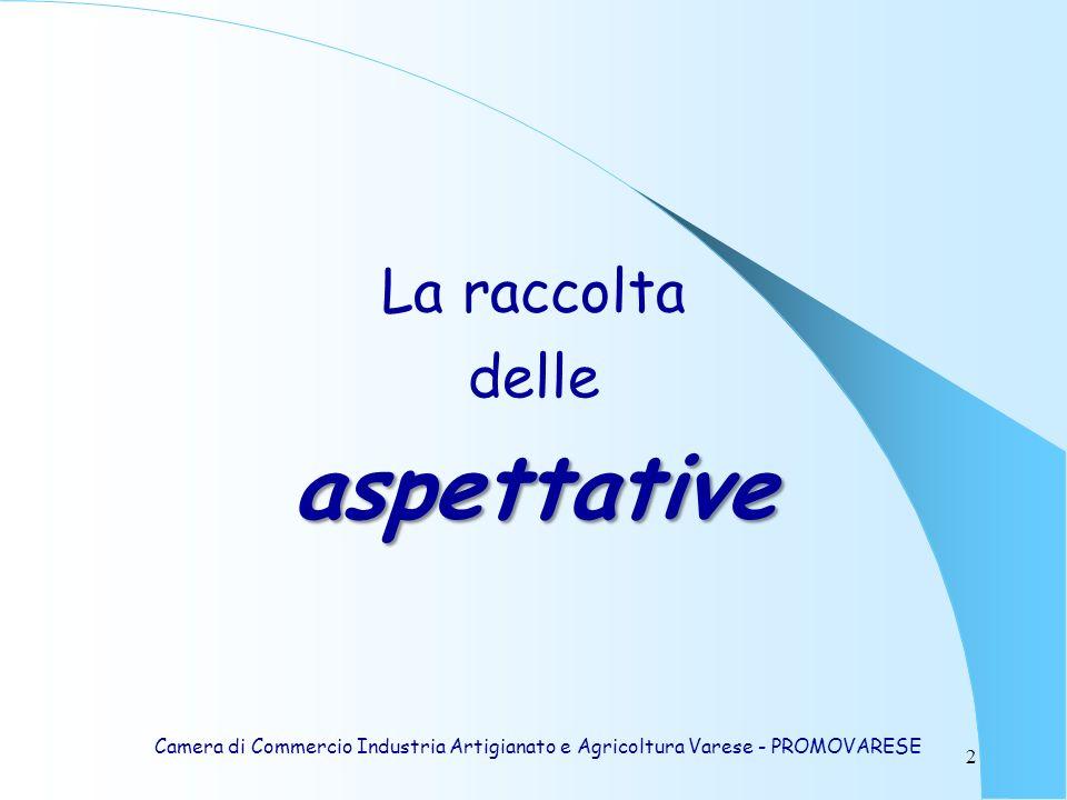 2 La raccolta delleaspettative Camera di Commercio Industria Artigianato e Agricoltura Varese - PROMOVARESE