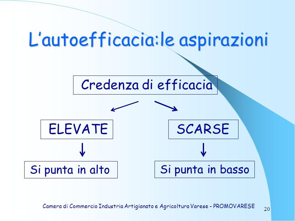 20 Lautoefficacia:le aspirazioni Camera di Commercio Industria Artigianato e Agricoltura Varese - PROMOVARESE Credenza di efficacia ELEVATE SCARSE Si punta in alto Si punta in basso