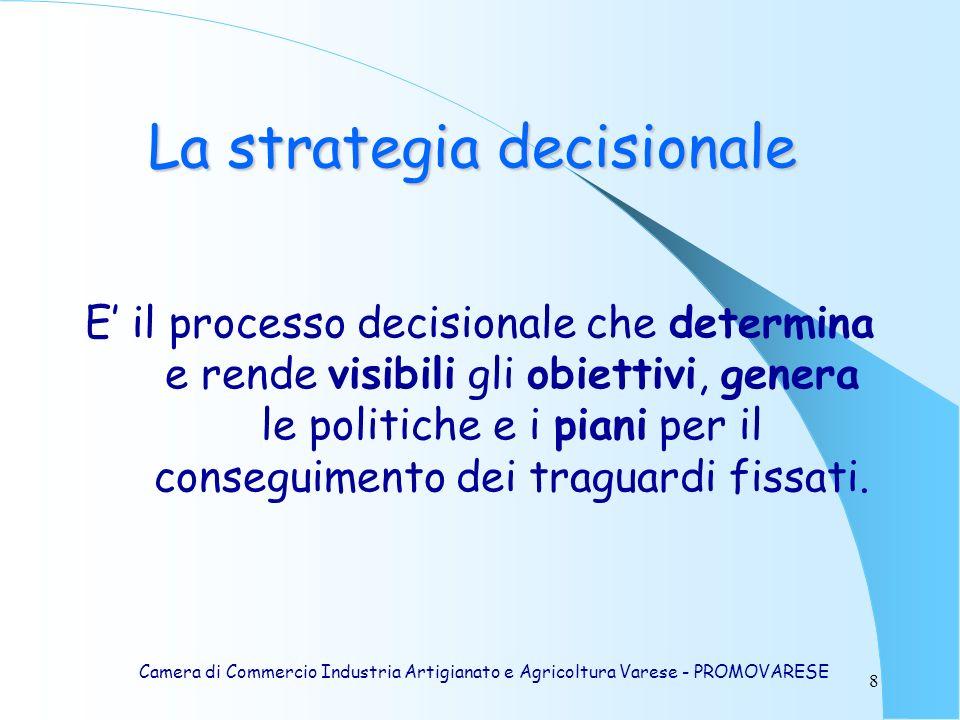 8 La strategia decisionale E il processo decisionale che determina e rende visibili gli obiettivi, genera le politiche e i piani per il conseguimento dei traguardi fissati.