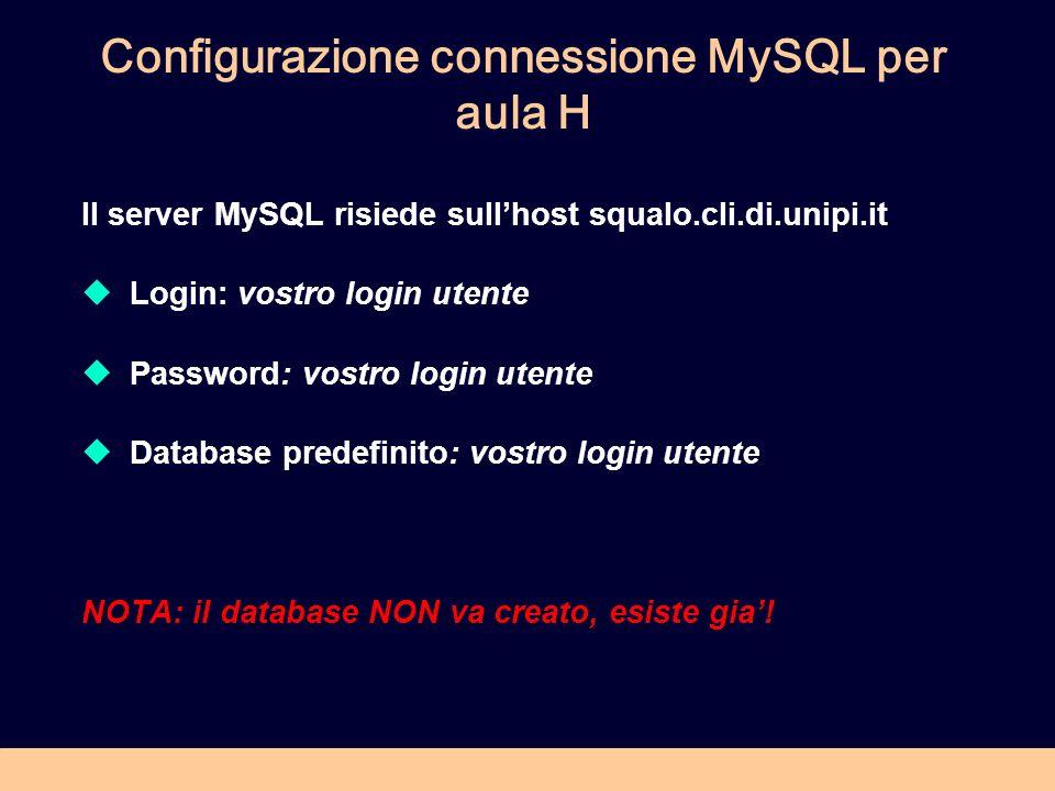 Configurazione connessione MySQL per aula H Il server MySQL risiede sullhost squalo.cli.di.unipi.it Login: vostro login utente Password: vostro login utente Database predefinito: vostro login utente NOTA: il database NON va creato, esiste gia!
