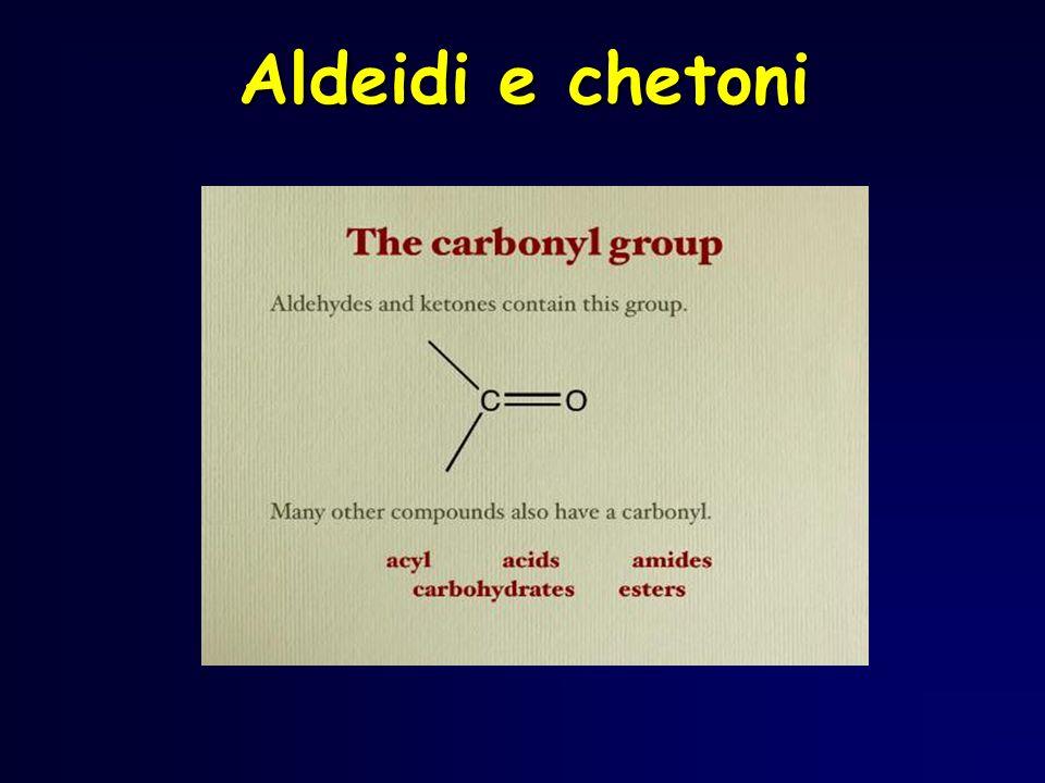 Riduzione di aldeidi mediante addizione di idrogeno al doppio legame C=O Ad elevate P e T in presenza di un catalizzatore e di un riducente, il doppio legame viene trasformato in legame semplice con laggiunta di atomi di idrogeno RC H O OH CR ALCOL PRIMARIO H H rid P e T elevate Ni in polvere + 2LiH