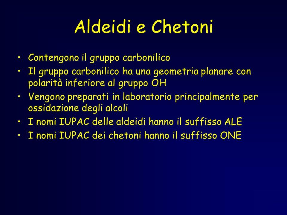 Aldeidi e Chetoni Contengono il gruppo carbonilico Il gruppo carbonilico ha una geometria planare con polarità inferiore al gruppo OH Vengono preparat