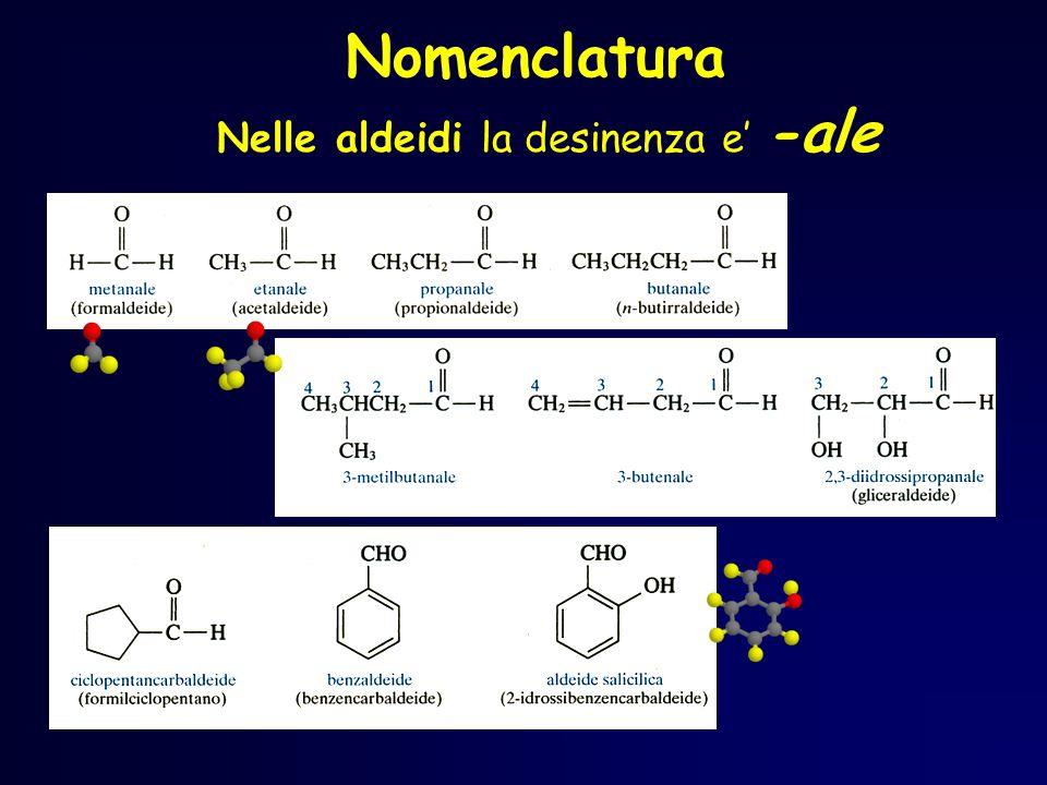 Nomenclatura Nelle aldeidi la desinenza e -ale