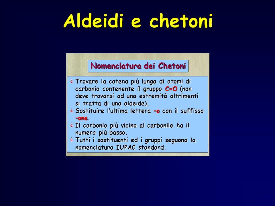 Aldeidi e chetoni Trovare la catena più lunga di atomi di carbonio contenente il gruppo C=O (non deve trovarsi ad una estremità altrimenti si tratta d