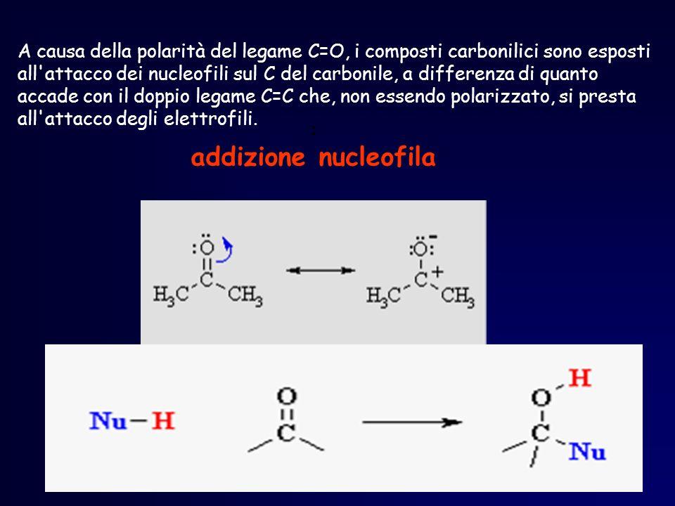 : addizione nucleofila A causa della polarità del legame C=O, i composti carbonilici sono esposti all'attacco dei nucleofili sul C del carbonile, a di