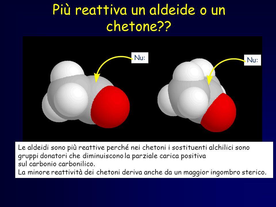 Più reattiva un aldeide o un chetone?? Le aldeidi sono più reattive perché nei chetoni i sostituenti alchilici sono gruppi donatori che diminuiscono l