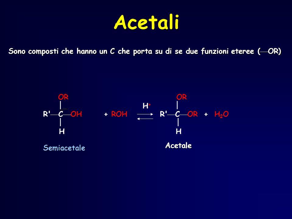 Acetali Sono composti che hanno un C che porta su di se due funzioni eteree ( OR) OR OR H + R' C OH + ROH R' C OR + H 2 O H Semiacetale Acetale