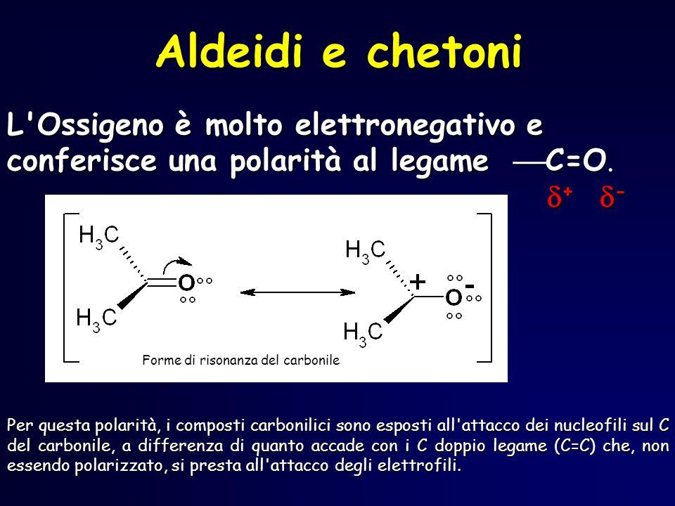 RC H O OH - RC H O OH H 2 O OH - aldeide idrata Laddizione nucleofila di acqua ad unaldeide è facilitata in ambiente alcalino, attraverso questo meccanismo
