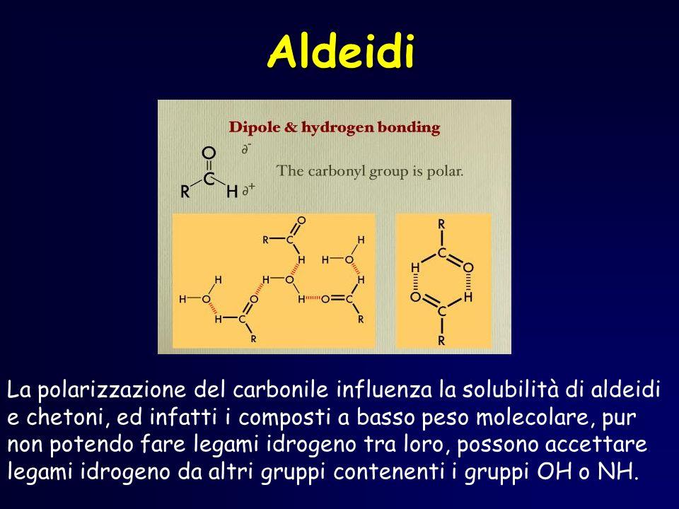 Aldeidi La polarizzazione del carbonile influenza la solubilità di aldeidi e chetoni, ed infatti i composti a basso peso molecolare, pur non potendo f