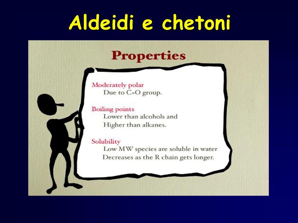 Tautomeria cheto-enolica Aldeidi e chetoni possono esistere allequilibrio nelle due forme chetonica ed enolica, che differiscono per la posizione di un protone e per un doppio legame.