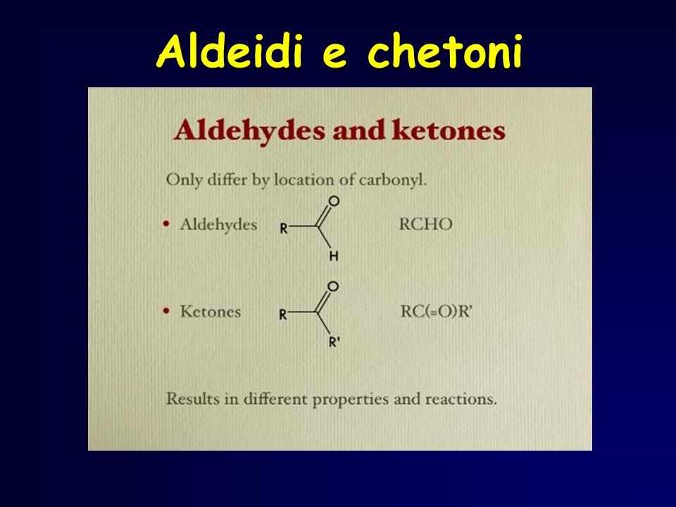 Ossidazione di aldeidi Lossidazione delle aldeidi produce un acido carbossilico, anche con ossidanti deboli (Ag +, Cu 2+ ) R C H O R C OH O ox