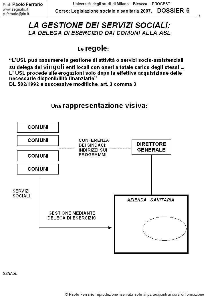 28 © Paolo Ferrario: riproduzione riservata solo ai partecipanti ai corsi di formazione Prof.