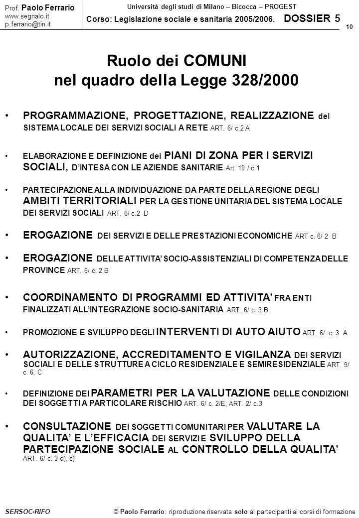 10 © Paolo Ferrario: riproduzione riservata solo ai partecipanti ai corsi di formazione Prof. Paolo Ferrario www.segnalo.it p.ferrario@tin.it Universi