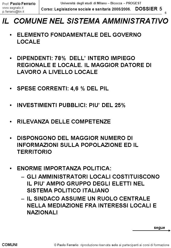 6 © Paolo Ferrario: riproduzione riservata solo ai partecipanti ai corsi di formazione Prof. Paolo Ferrario www.segnalo.it p.ferrario@tin.it Universit