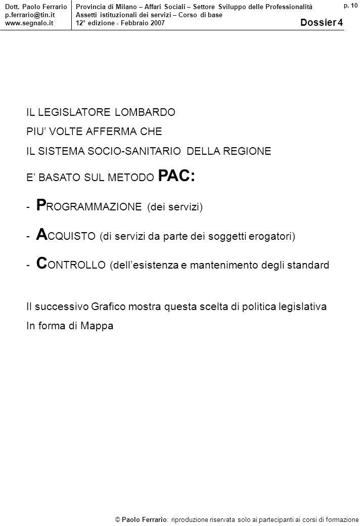 p. 10 © Paolo Ferrario: riproduzione riservata solo ai partecipanti ai corsi di formazione Dott.