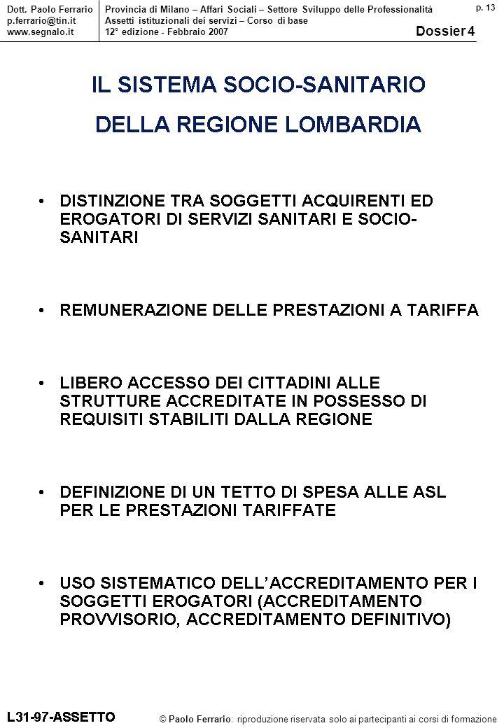 p. 13 © Paolo Ferrario: riproduzione riservata solo ai partecipanti ai corsi di formazione Dott.