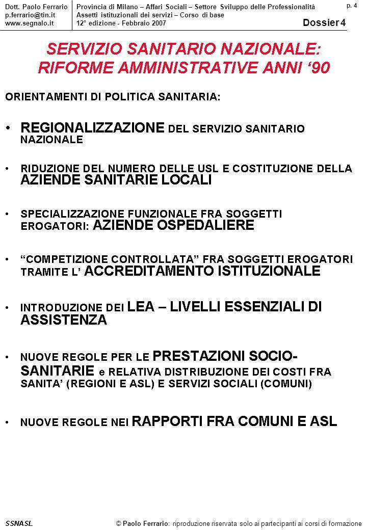 p. 4 © Paolo Ferrario: riproduzione riservata solo ai partecipanti ai corsi di formazione Dott.