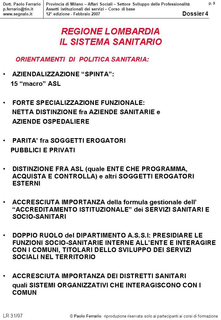 p.9 © Paolo Ferrario: riproduzione riservata solo ai partecipanti ai corsi di formazione Dott.
