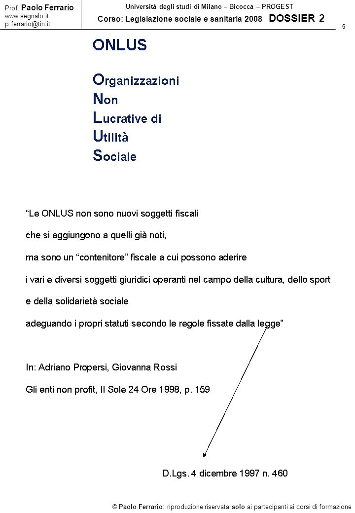 6 © Paolo Ferrario: riproduzione riservata solo ai partecipanti ai corsi di formazione Prof.
