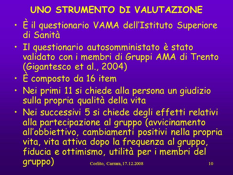 Corlito, Carrara, 17.12.200810 UNO STRUMENTO DI VALUTAZIONE È il questionario VAMA dellIstituto Superiore di Sanità Il questionario autosomministato è